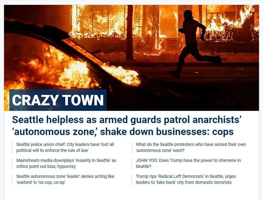 Fox News falsified photo of Seattle Capitol Hill Autonomous Zone CHAZ. The photo is of Minneapolis, not Seattle.